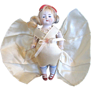 Darling All Bisque Doll with Big Silk Bow