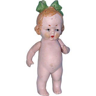 Hertwig All Bisque Doll with Green Molded Bow