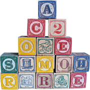 Vintage Wooden Alphabet Blocks in Original Box