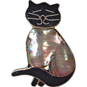 Mother of Pearl and Black Enamel Cat Pin