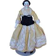 Miniature Flat Top China Head Doll in Yellow Gown