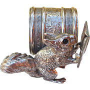 Silver Plate Napkin Ring with Squirrel Reading a Book