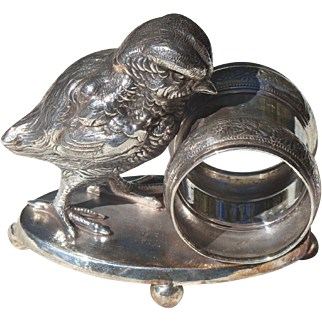 Silver Plate Napkin Ring with a Chick