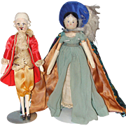 Peg Wooden Colonial Couple with Molded Curls and Coiled Bun