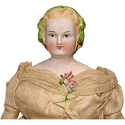 Bisque Shoulder Head Doll with Snood