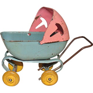 Miniature Pressed Steel Baby Doll Carriage Made in U.S.A.