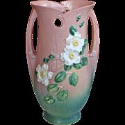 """Large 15"""" Roseville White Rose Vase"""