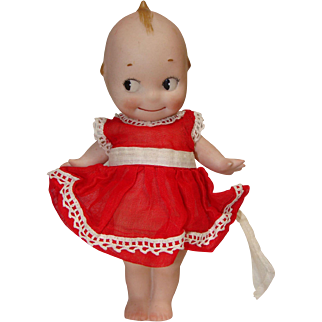 "Rose O'Neill German Bisque 7"" Kewpie in Cute Red Dress"