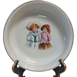 German Porcelain Baby Dish with Sailor Boy and Girl with Butterfly Net