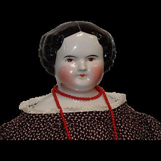 Large German Brown Eye China Head Doll