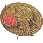 """Sweet Brass """"Straw Hat"""" Hat Pin with Coral Flower"""