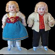 Sweet Pair of German Doll House Dolls