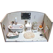 Miniature Metal Bathroom with Fixtures and Dolls