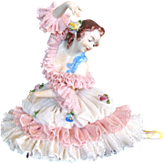 Large Dresden Lace Ballerina Figurine