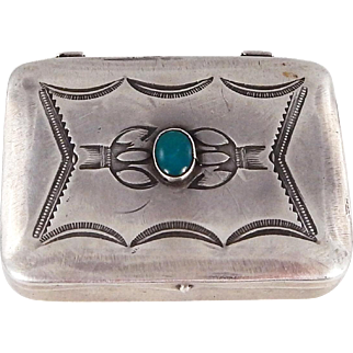 Navajo – Sterling and Turquoise Pill Box – C. 1930s