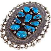 Navajo Sterling Silver and High Grade Kingman Turquoise Belt Buckle