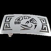 Hopi – Sterling Silver Overlay Belt Buckle with Bird Design