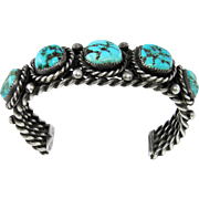 Navajo – Boe E. Bowman Sterling and Stormy Mountain Turquoise Bracelet