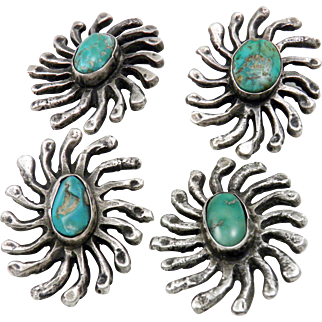 EARLY Navajo – 4 Sterling Sandcast and Turquoise Star Buttons C. 1920-30s
