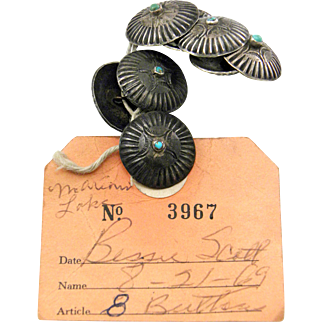 Navajo – Bessie Scott, Sterling Buttons with Pawn Tag C. 1930s
