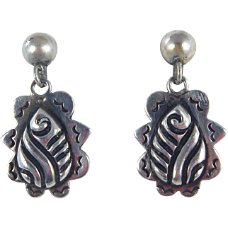 Mexican – Sterling Silver Dangle Earrings - C. 1950-60s