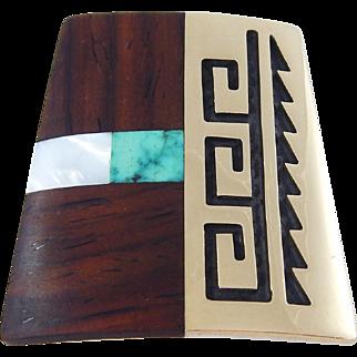 Hopi – Phillip Sekaquaptewa - Sterling, 14k Gold, Wood & Stone Pendant