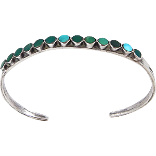 Zuni – Virgil or Vincent Dishta, Sterling & Turquoise Inlay Bracelet