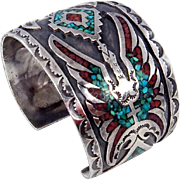 Navajo Sterling Silver, Turquoise & Coral Chip Inlay Peyote Bird Bracelet C. 1970s