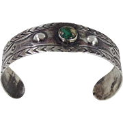 Early Navajo - Ingot Coin Silver with Cerrillos Turquoise Bracelet C. 1920-30s