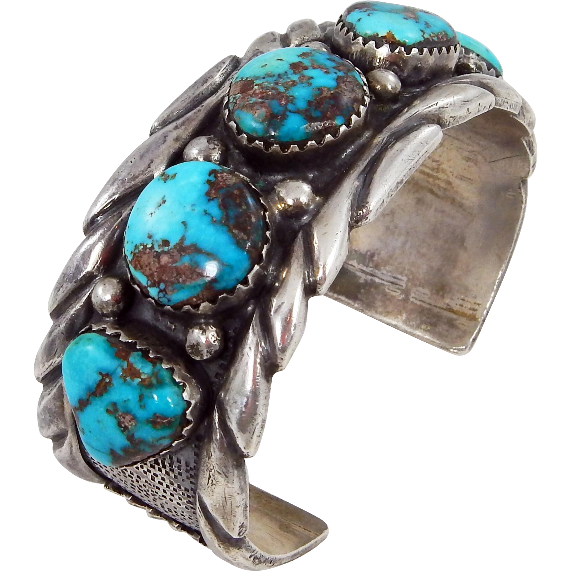 br turquoise bracelet ladies silver navajo stamped traditional