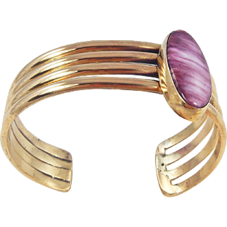 Navajo - Robert Platero Brass and Spiney Oyster Bracelet