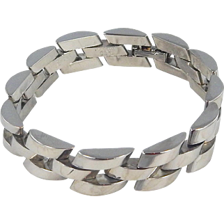 Mexican/Taxco Solid Sterling Silver Link Bracelet
