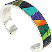 Navajo – Pete Yazzie, Sterling and Multi Stone Mosaic Inlay Bracelet
