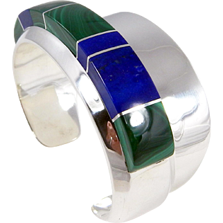 Zuni – Sterling, Lapis and Malachite Bracelet by Mabel Watson