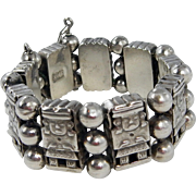 Mexican – Sterling Aztec Figure link bracelet. – C. 1920-40s