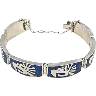 Mexican – Miguel Melendez, Sterling, Lapis & Malachite Chip Inlay Bracelet