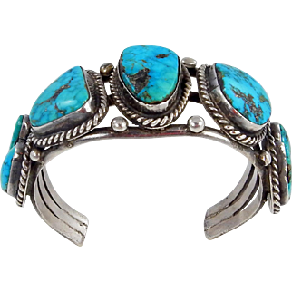 Navajo – Sterling and Kingman Turquoise Bracelet
