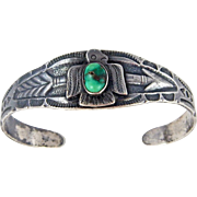 Navajo - Fred Harvey Era, Sterling & Green Turquoise Thunderbird Bracelet