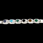 Mexican/Taxco Sterling & Multi Stone Link Bracelet