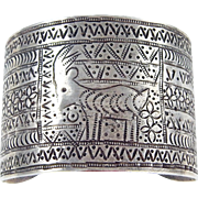 WIDE - Turkmen Afghanistan Sterling Silver Inscribed Cuff Bracelet.