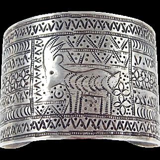 WIDE - Turkmen Afghanistan Sterling Silver Inscribed Cuff Bracelet.