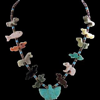Zuni - Multi Stone and Shell Fetish Necklace