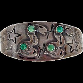 Navajo – Fred Harvey Era Sterling Silver and Turquoise Snake Bracelet c. 1940s