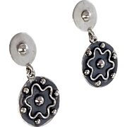 Mexican - Brenda Schoenfeld, Sterling Silver Dangle Earrings.