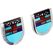 Navajo - Sterling Silver and Multi Stone Mosaic Inlay Earrings by Jim Harrison