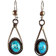 Navajo - Sterling Silver with Natural Stormy Mountain Turquoise Dangle Earrings.