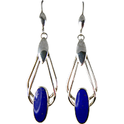 Vintage Mexican Sterling Silver and Lapis Dangle Earrings C. 1970s