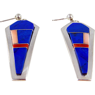 Navajo Jerry Nelson Sterling and Multi Stone Inlay Earrings