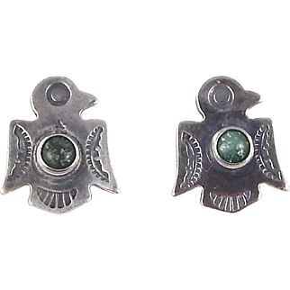 Fred Harvey Era, Sterling Silver and Turquoise Thunderbird Earrings