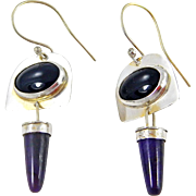 Sterling and Obsidian & Sugilite Earrings. – Signed: B. Bloy